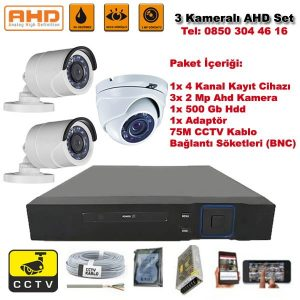 3 Kameralı Ahd Set – 2 Mp Kamera