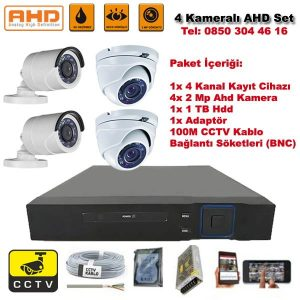 4 Kameralı Ahd Set – 2 Mp Kamera