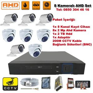 8 Kameralı Ahd Set – 2 Mp Kamera